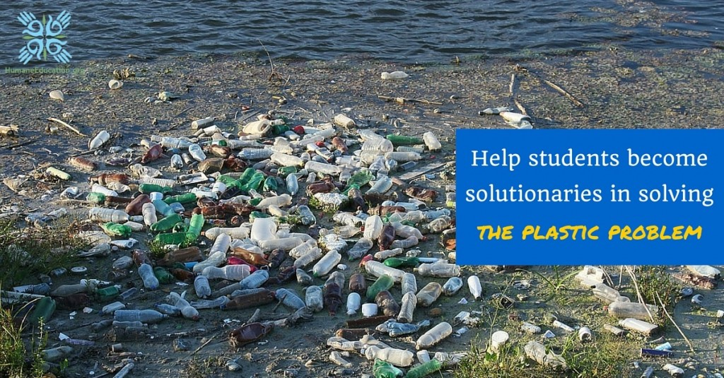 plastic bottles littered all over a beach