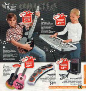 catalog page with boys playing instruments