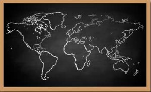 world map drawn on chalkboard