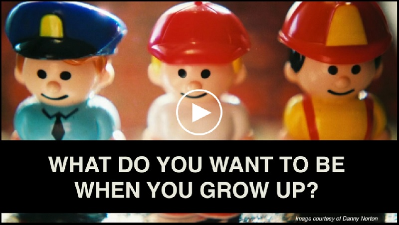 """screenshot of toy people in different jobs with question """"What do you want to be when you grow up?"""" in front"""