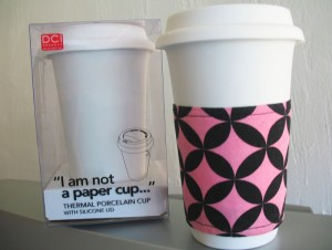 two reusable porcelain cups