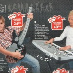 toy catalog with boy and girl playing instruments