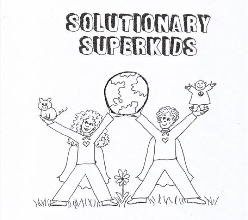 Drawing of Solutionary Superkids coloring book cover
