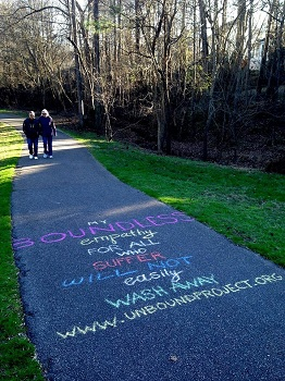 Asphalt path with vegan message chalked on it