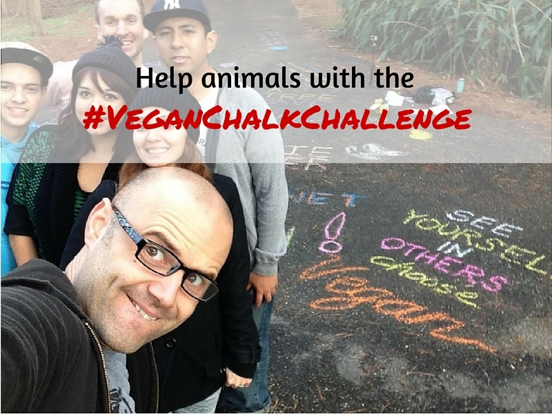 James DeAlto and friends show off their vegan chalktivism