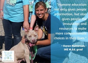 Humane educator Karen Patterson with a dog and children